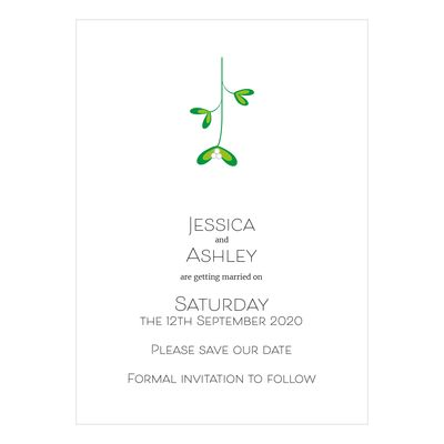 Recycled White Mistletoe Christmas Save the Date Cards