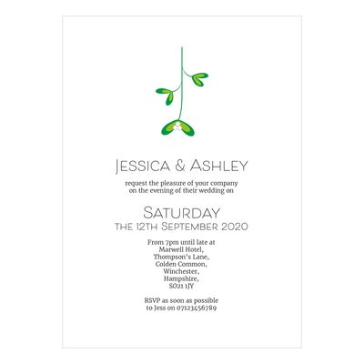 Recycled White Mistletoe Christmas Reception Invitations
