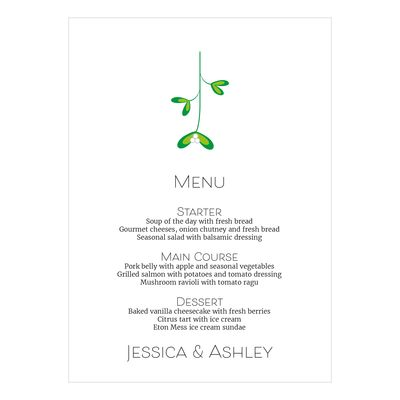 Recycled White Mistletoe Christmas Menu Cards