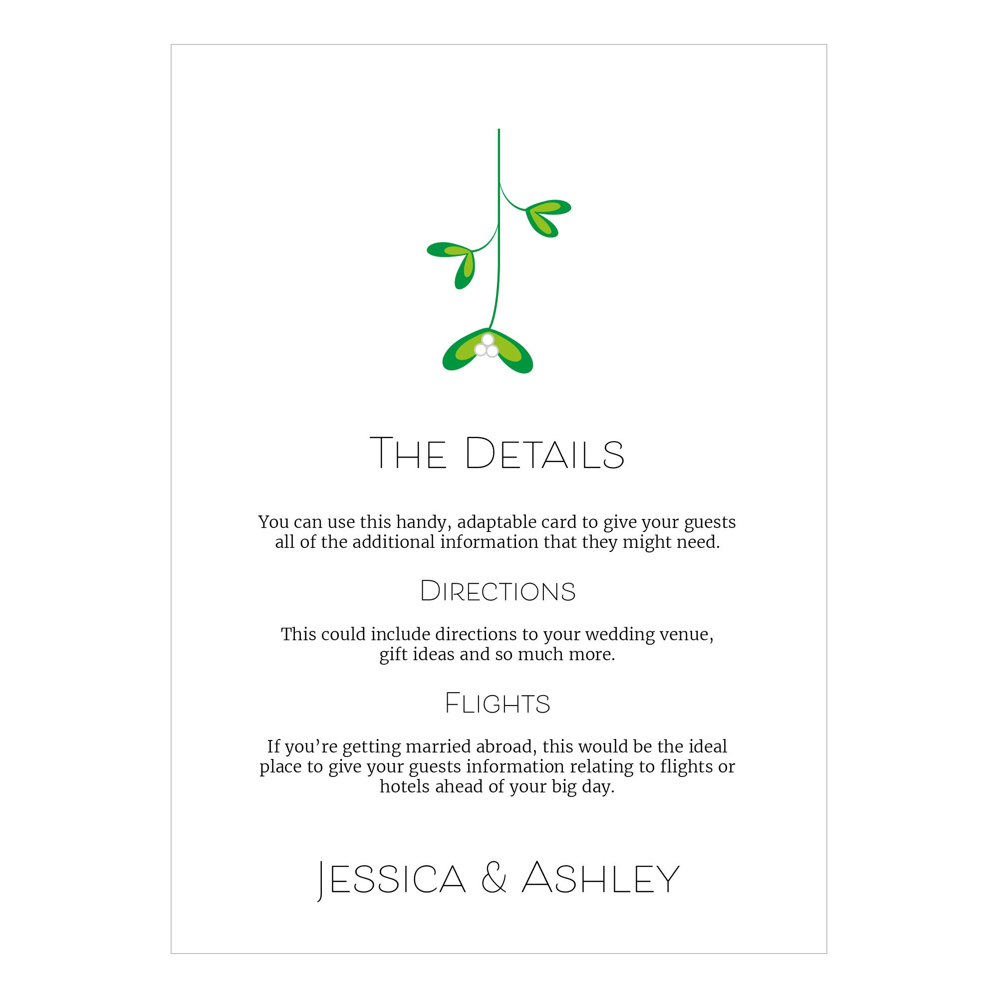 Recycled White Mistletoe Christmas Guest Information Cards