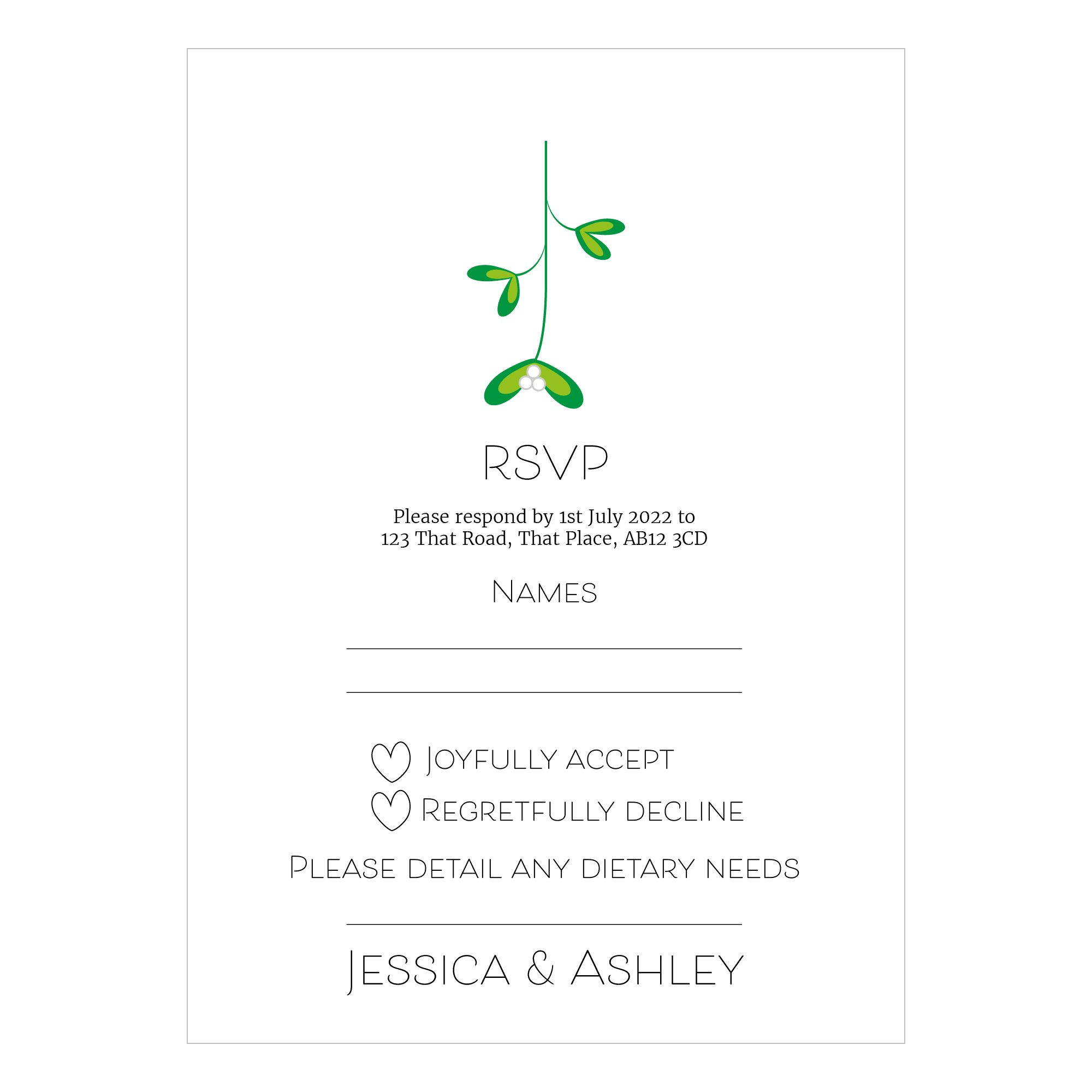 Recycled White Mistletoe Christmas RSVP Dietary Requirement Cards