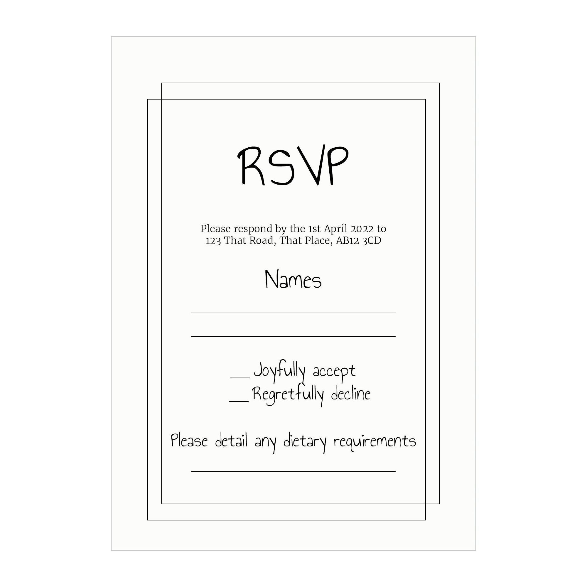 Recycled White Classic Bordered RSVP Dietary Requirement Cards