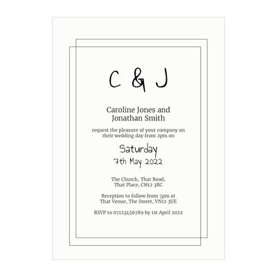 Textured White Classic Bordered Wedding Invitations