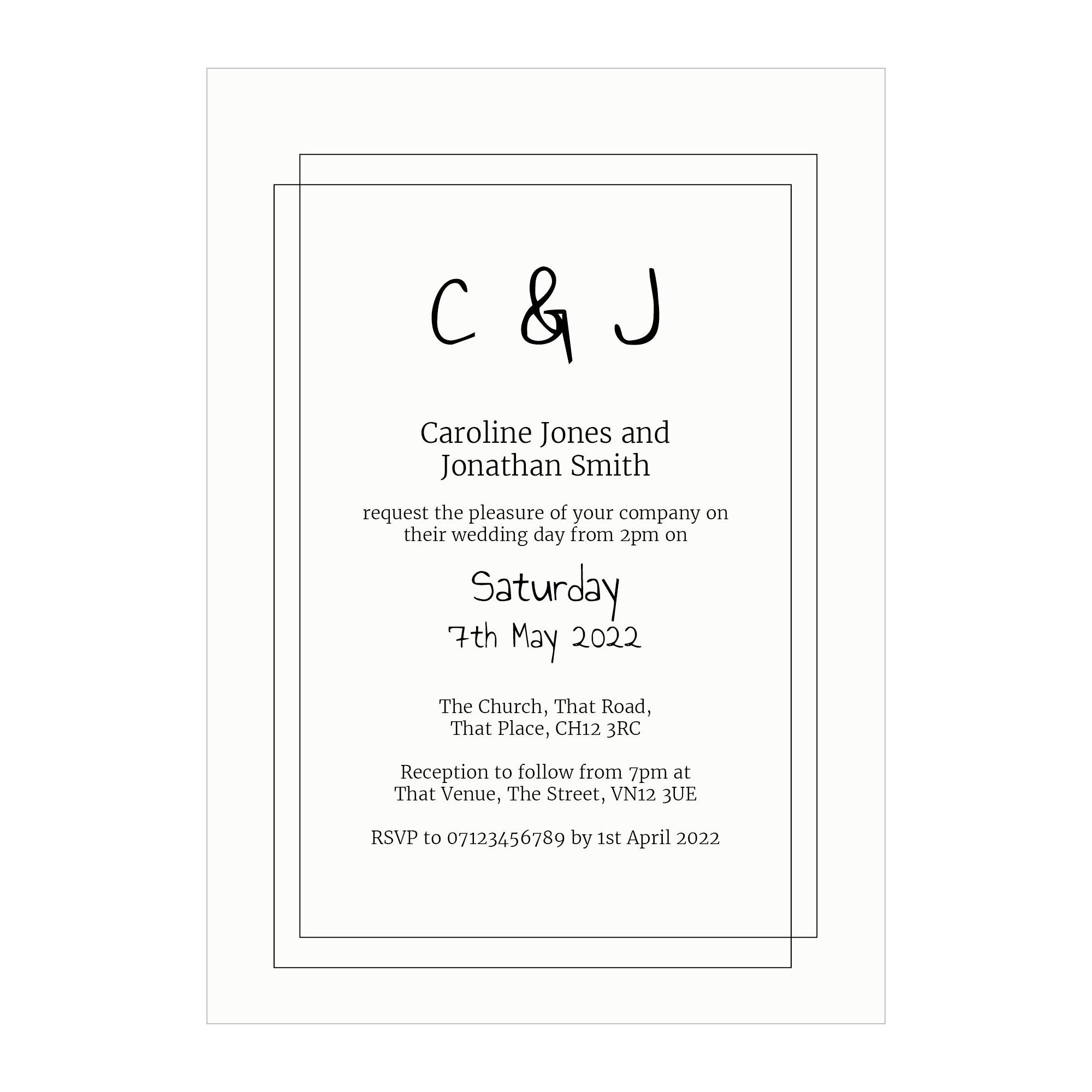 Recycled White Classic Bordered Wedding Invitations