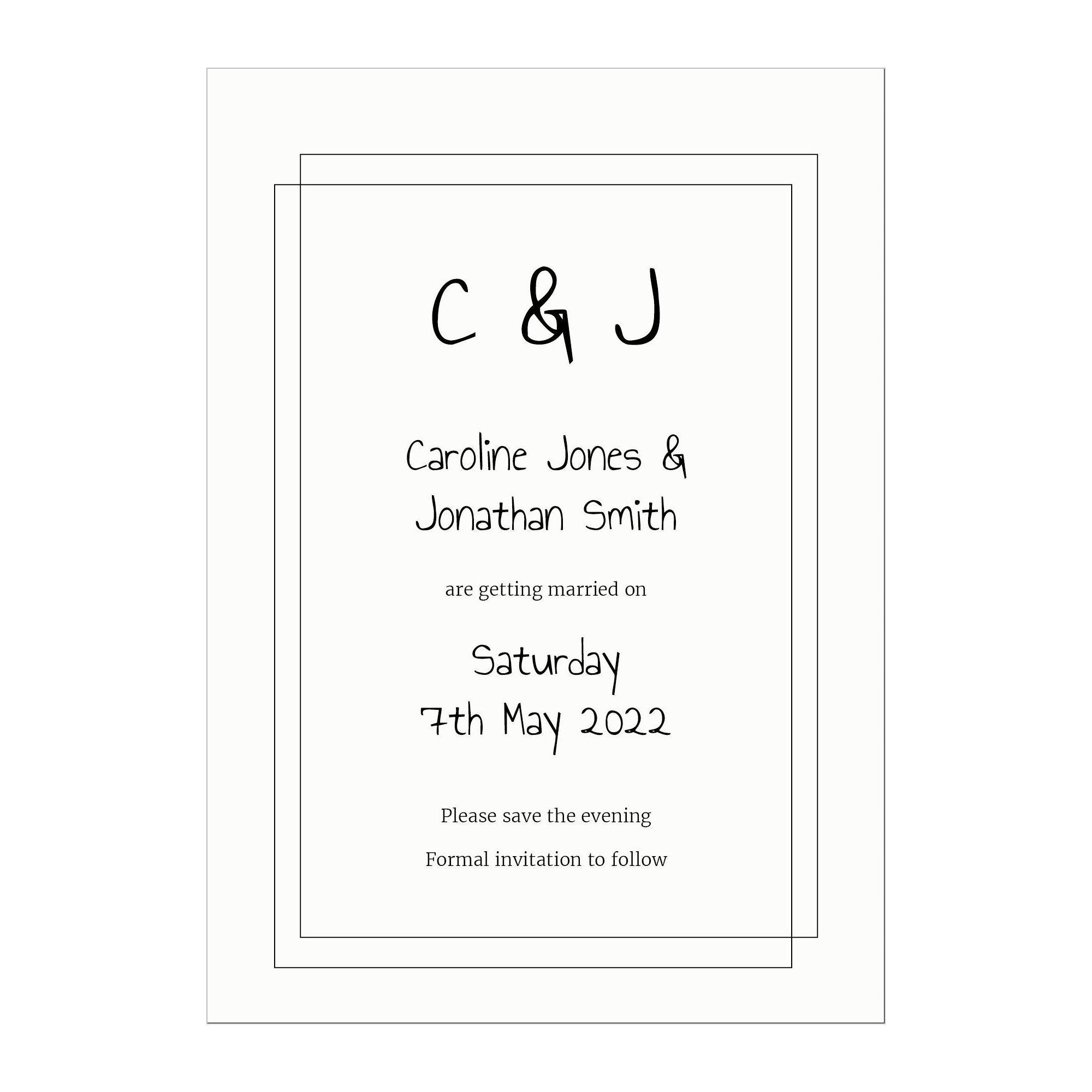 Textured White Classic Bordered Save the Evening Cards
