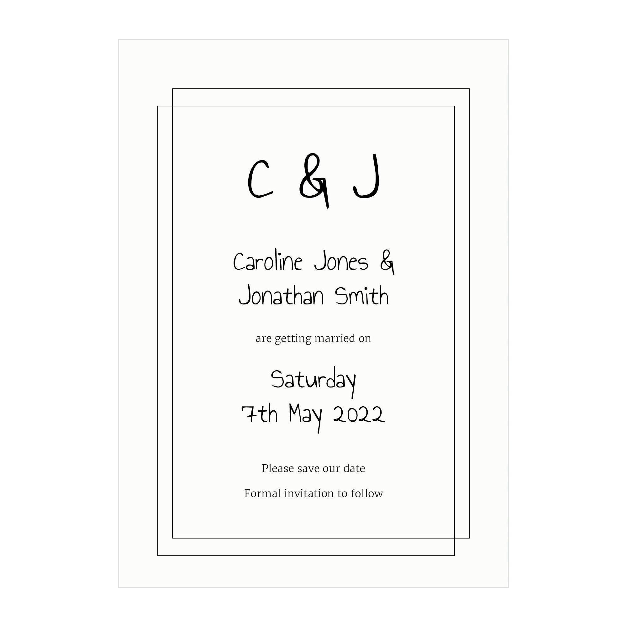 Textured White Classic Bordered Save the Date Cards