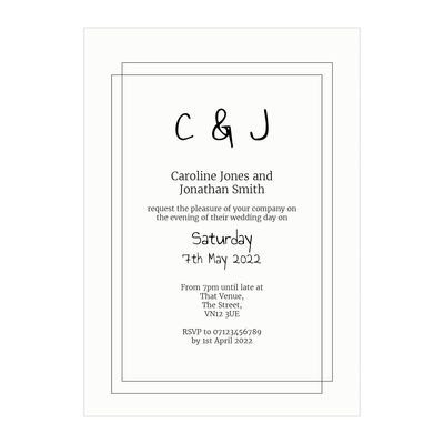 Textured White Classic Bordered Reception Invitations