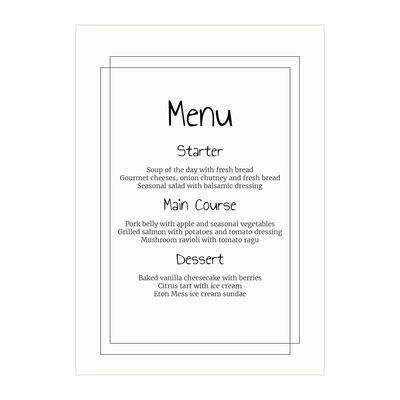 Textured White Classic Bordered Menu Cards