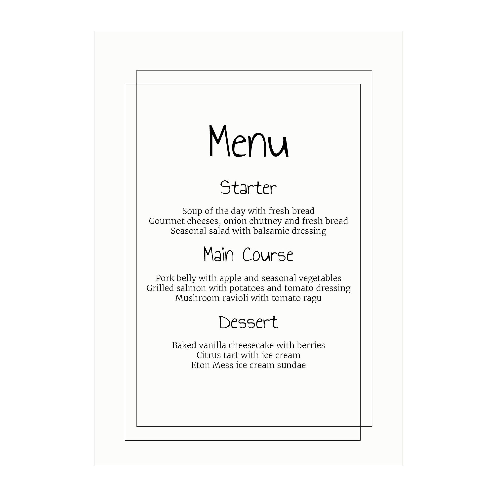 Recycled White Classic Bordered Menu Cards