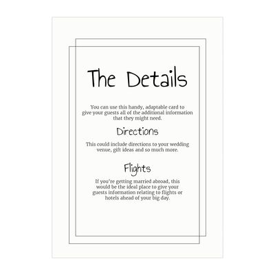 Textured White Classic Bordered Guest Information Cards