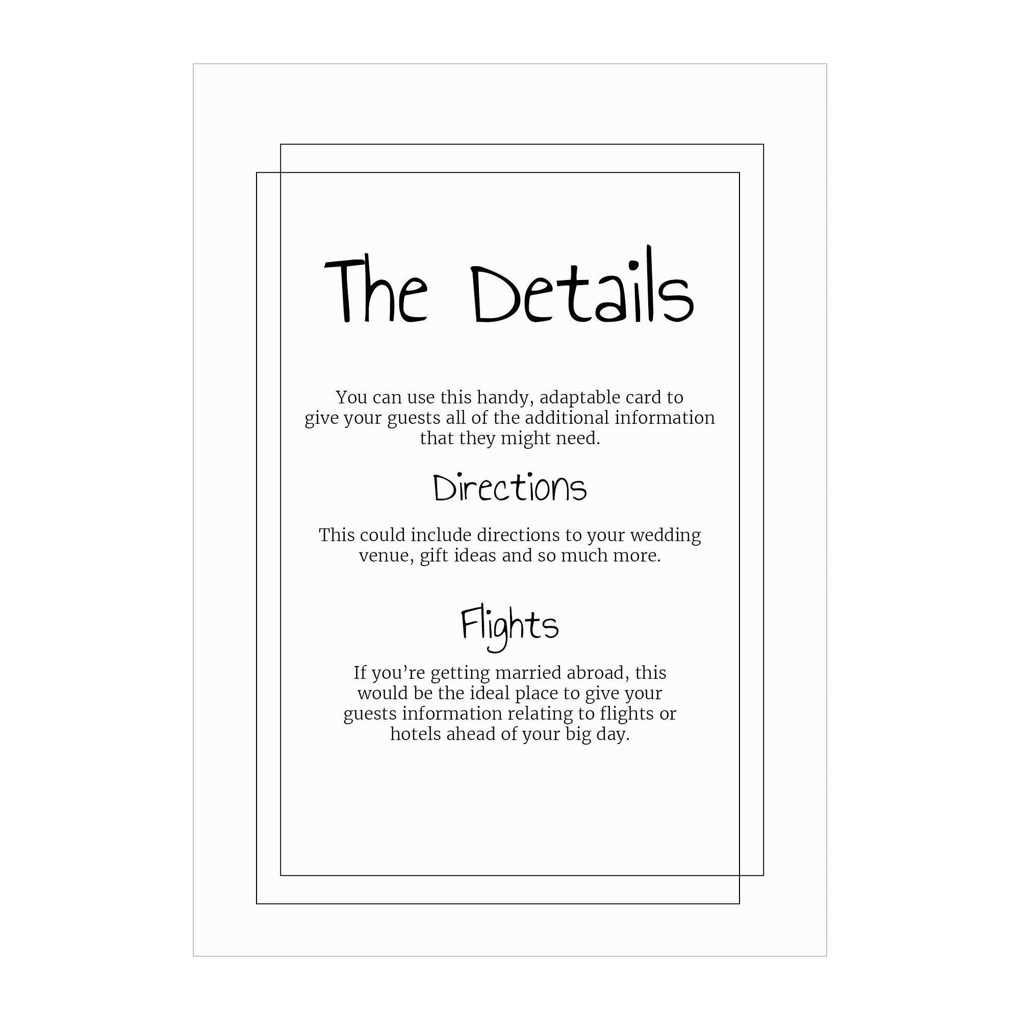 Recycled White Classic Bordered Guest Information Cards