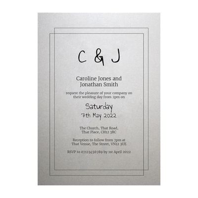 Shimmer Arctic White Classic Bordered Wedding Invitations