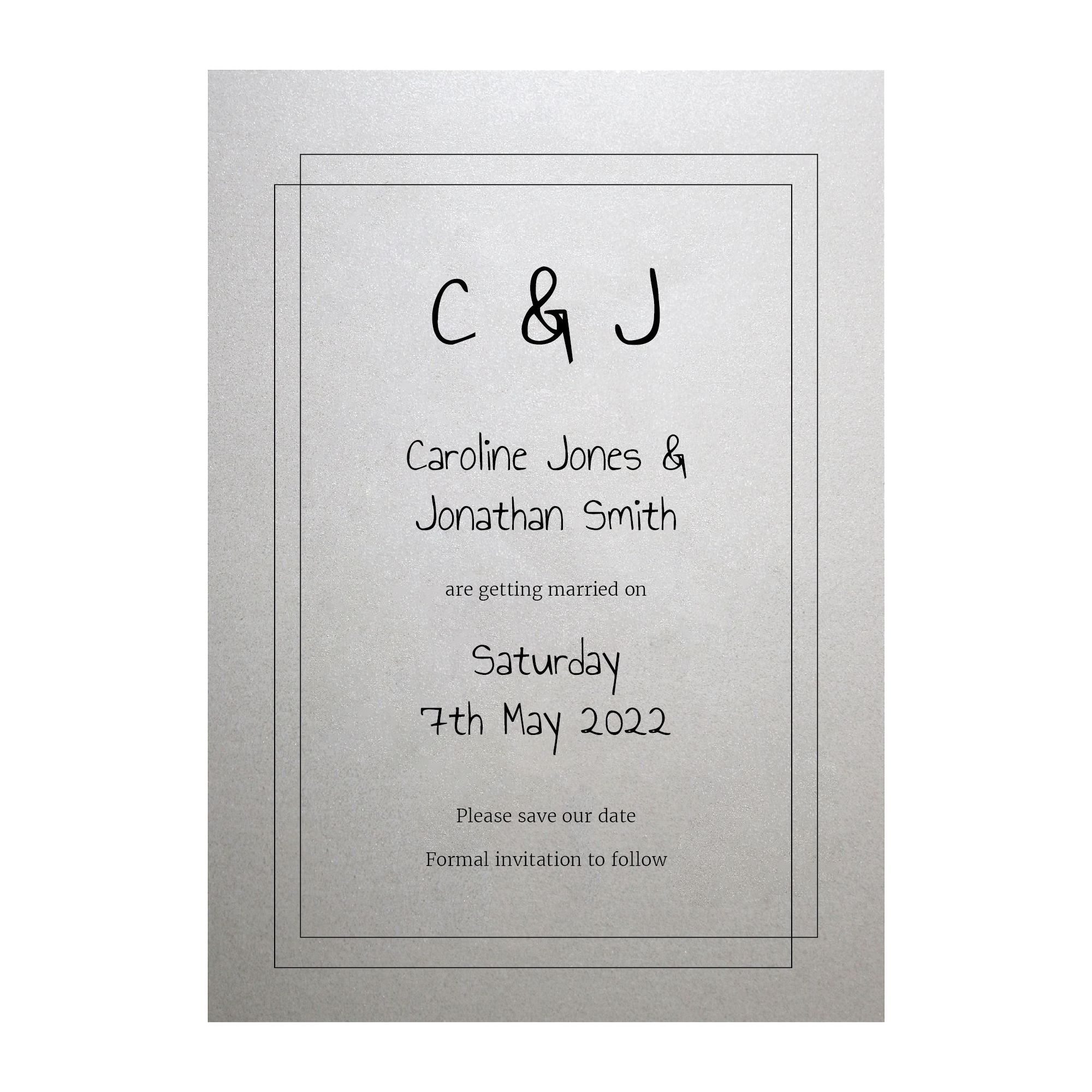 Shimmer Arctic White Classic Bordered Save the Date Cards