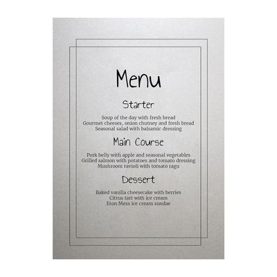 Shimmer Arctic White Classic Bordered Menu Cards