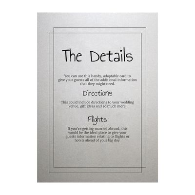 Shimmer Arctic White Classic Bordered Guest Information Cards