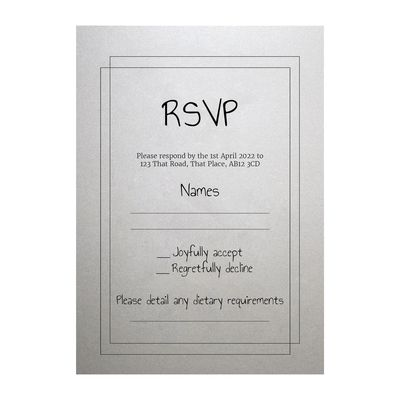 Shimmer Arctic White Classic Bordered RSVP Dietary Requirement Cards