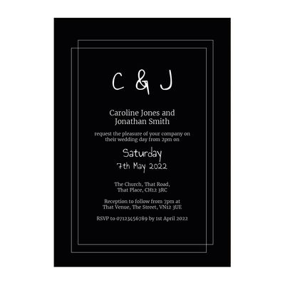 Black with White Ink Classic Bordered Wedding Invitations
