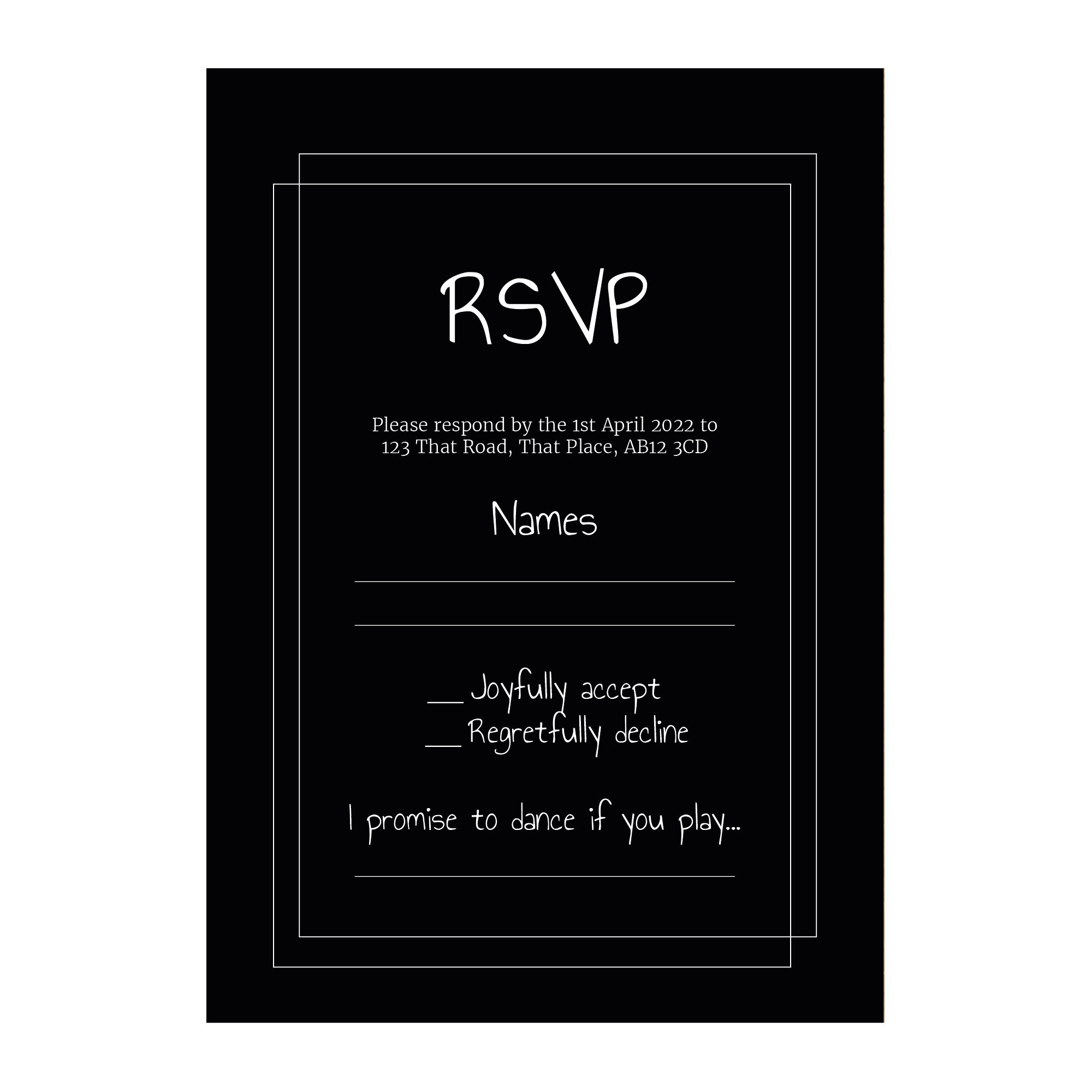 Black with White Ink Classic Bordered RSVP Song Request Cards