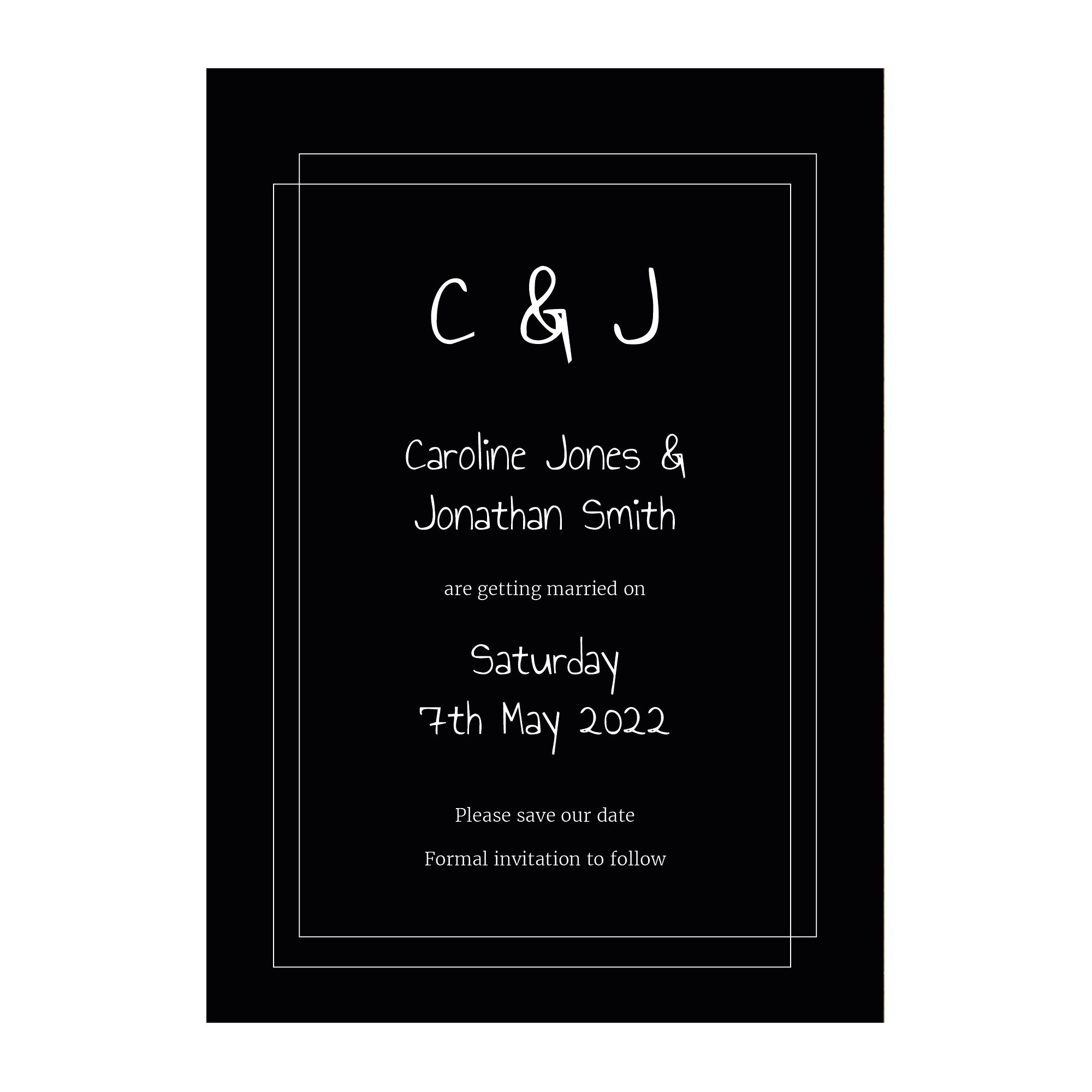 Black with White Ink Classic Bordered Save the Date Cards