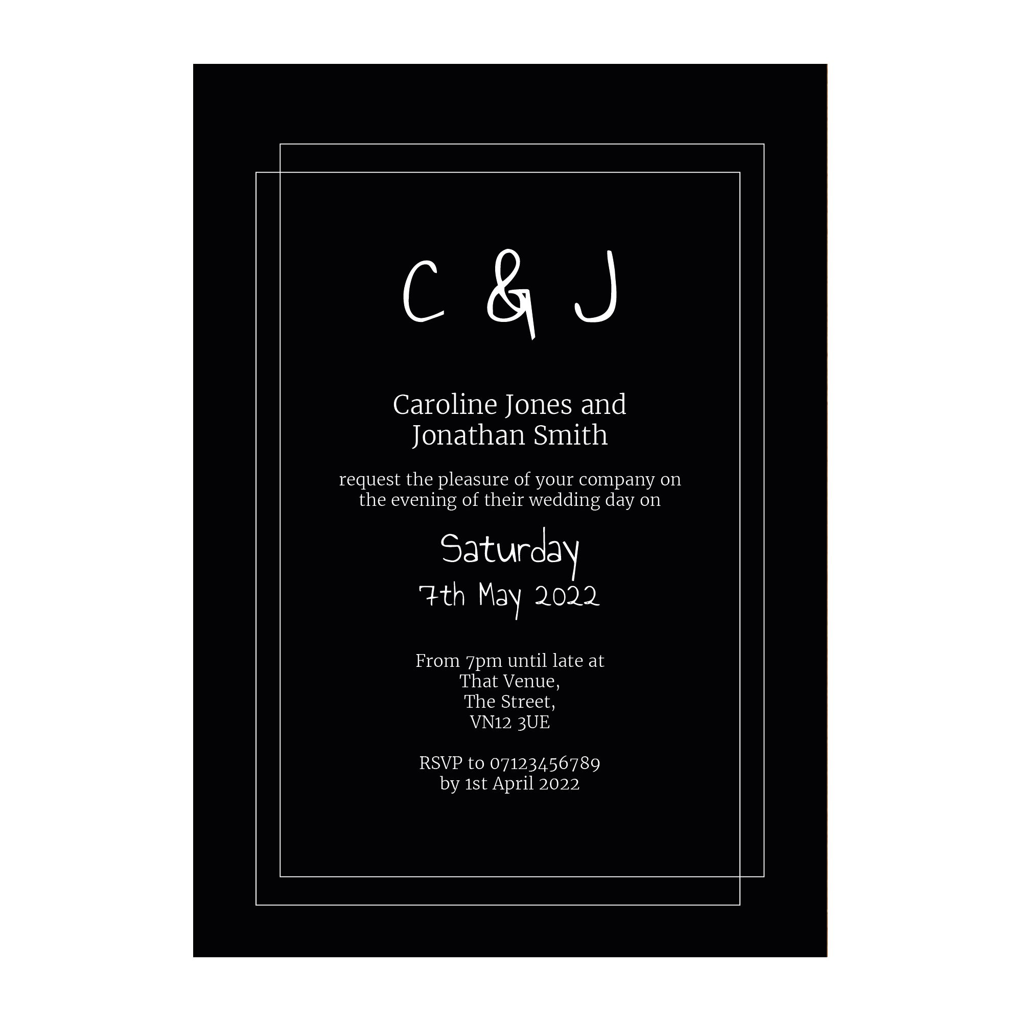 Black with White Ink Classic Bordered Reception Invitations