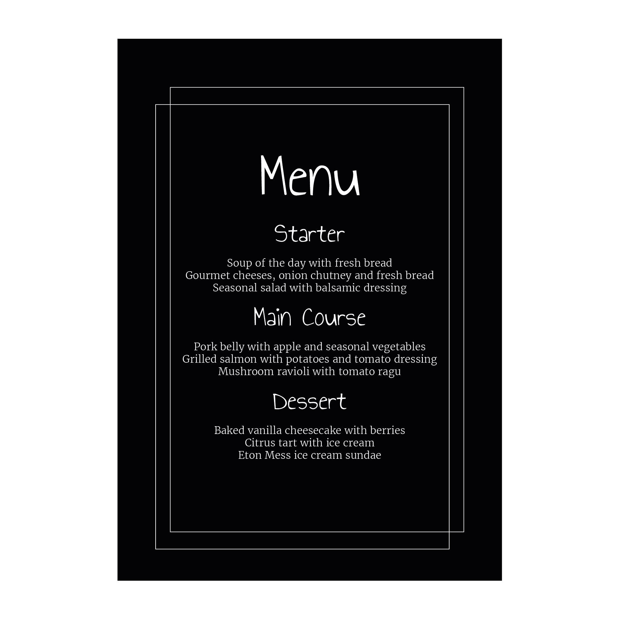 Black with White Ink Classic Bordered Menu Cards