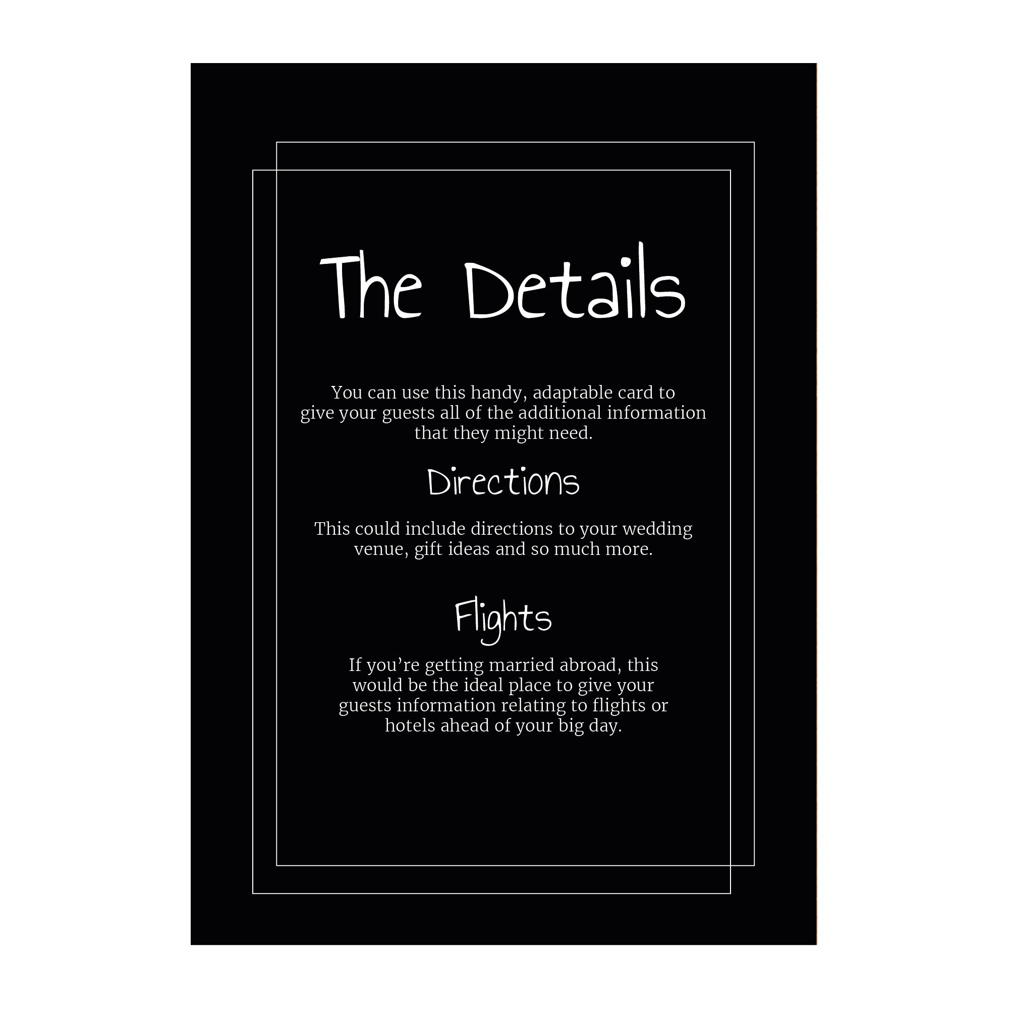 Black with White Ink Classic Bordered Guest Information Cards