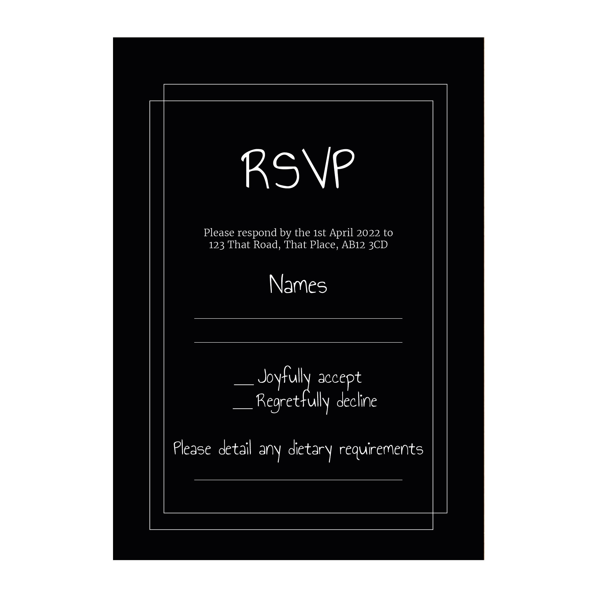 Black with White Ink Classic Bordered RSVP Dietary Requirement Cards