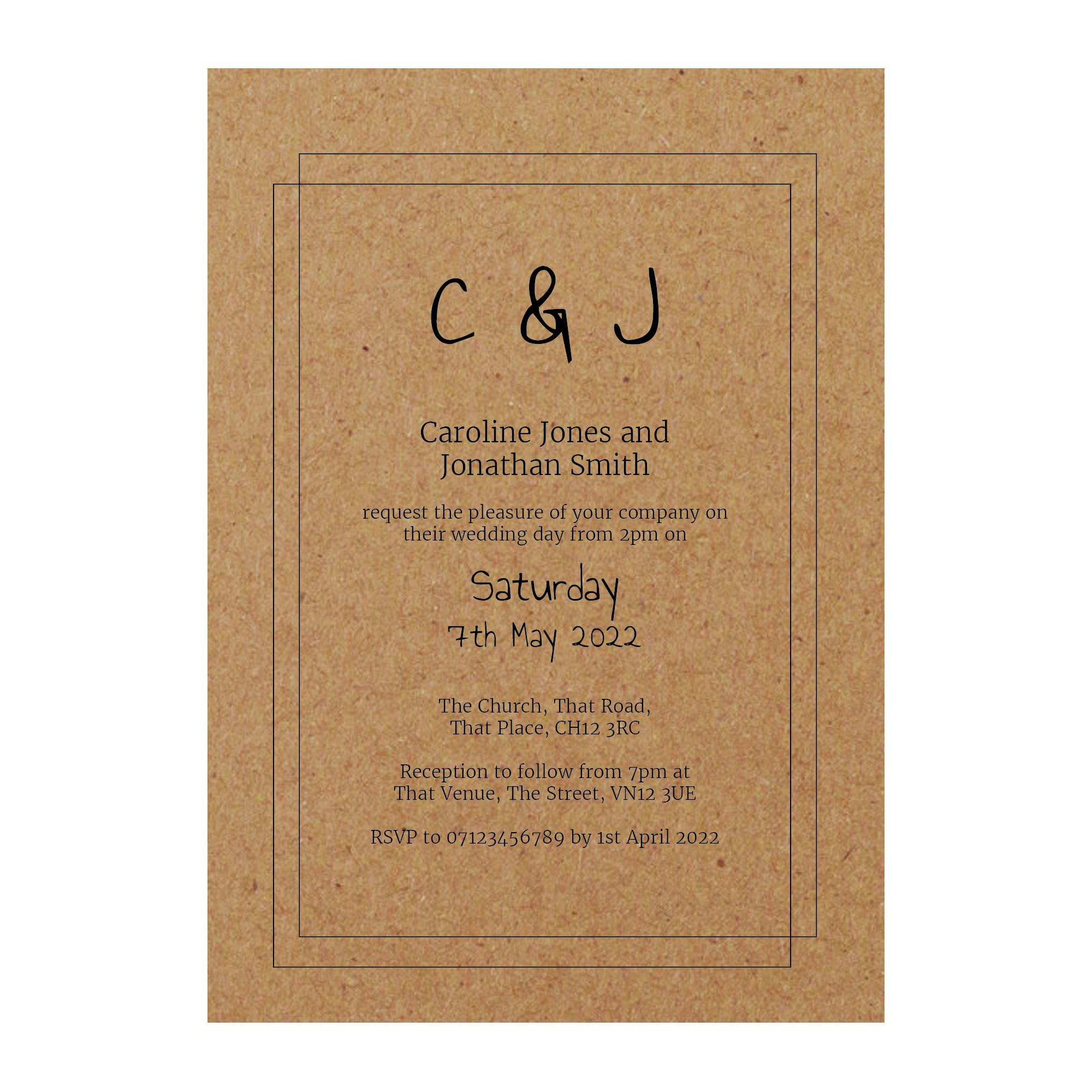 Recycled Brown Kraft Classic Bordered Wedding Invitations