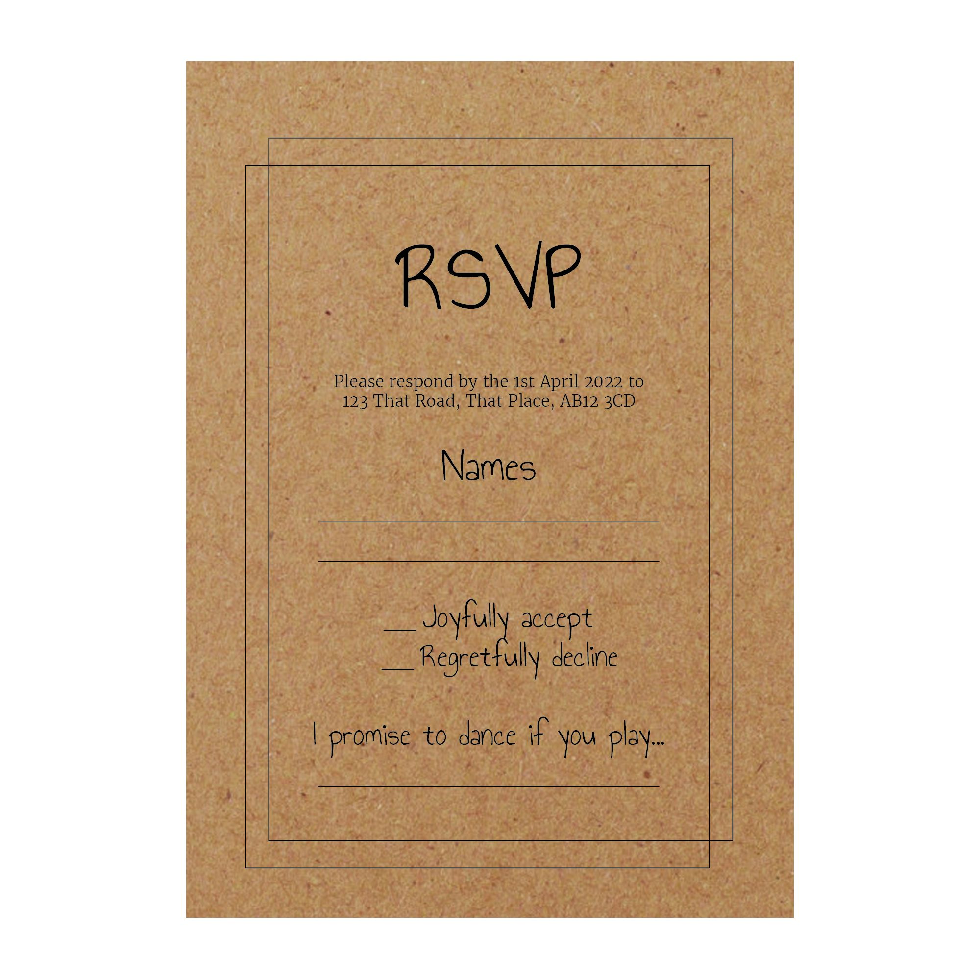 Recycled Brown Kraft Classic Bordered RSVP Song Request Cards