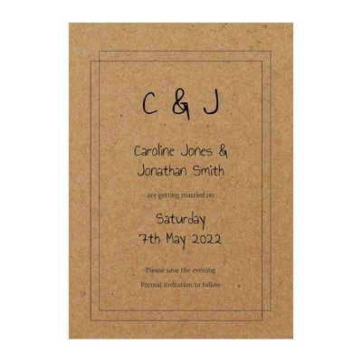 Recycled Brown Kraft Classic Bordered Save the Evening Cards