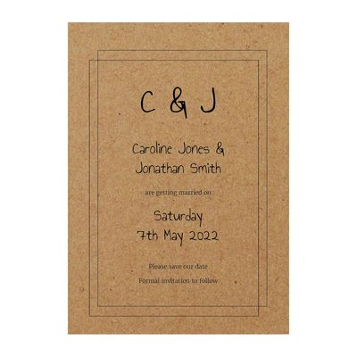 Recycled Brown Kraft Classic Bordered Save the Date Cards