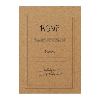 Recycled Brown Kraft Classic Bordered RSVP Cards
