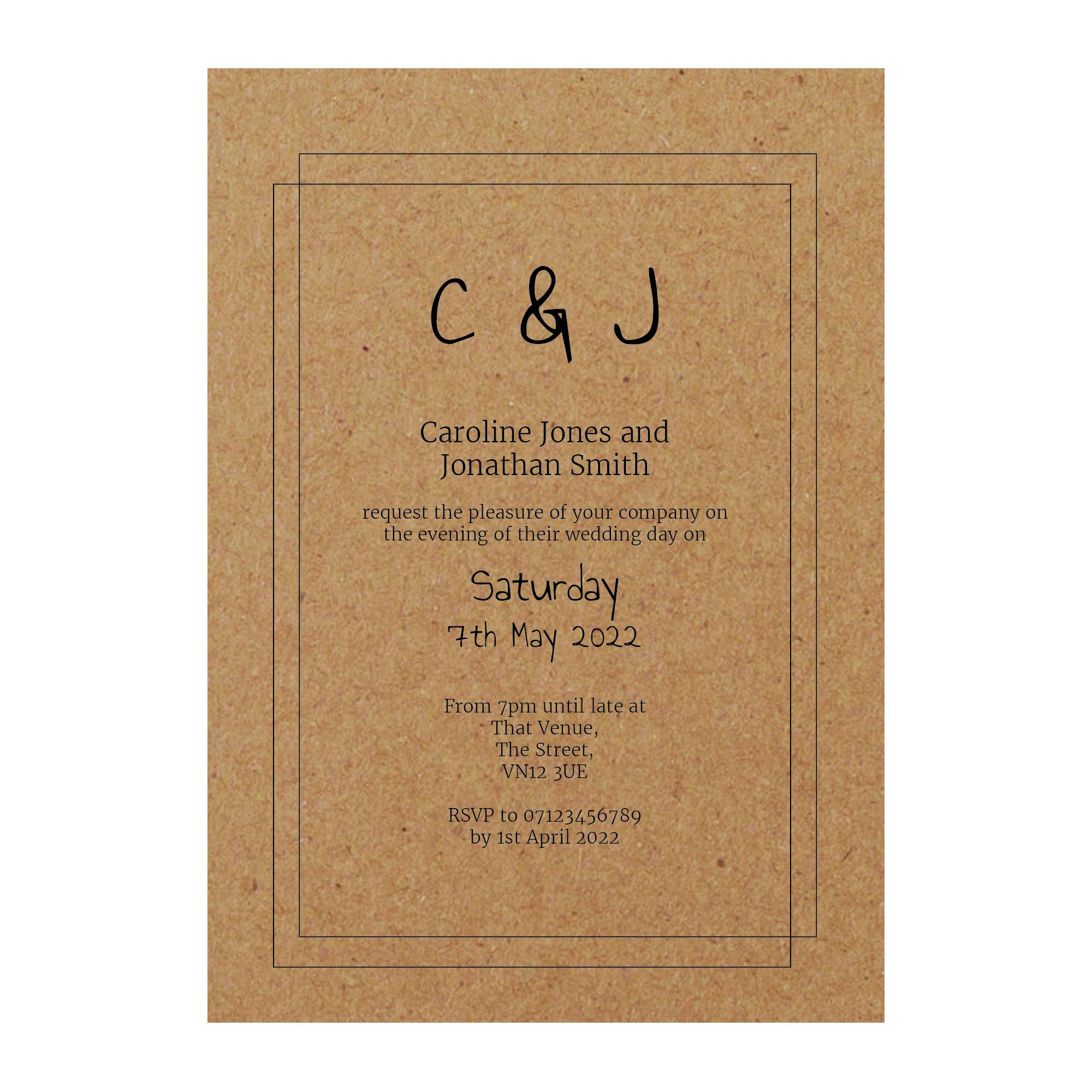 Recycled Brown Kraft Classic Bordered Reception Invitations