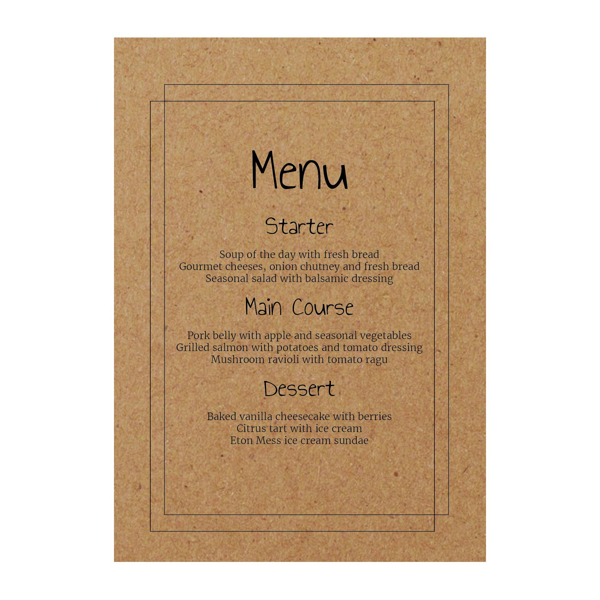 Recycled Brown Kraft Classic Bordered Menu Cards