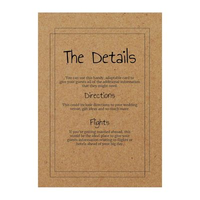 Recycled Brown Kraft Classic Bordered Guest Information Cards