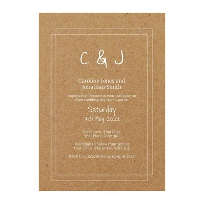 Recycled Brown Kraft with White Ink Classic Bordered Wedding Invitations