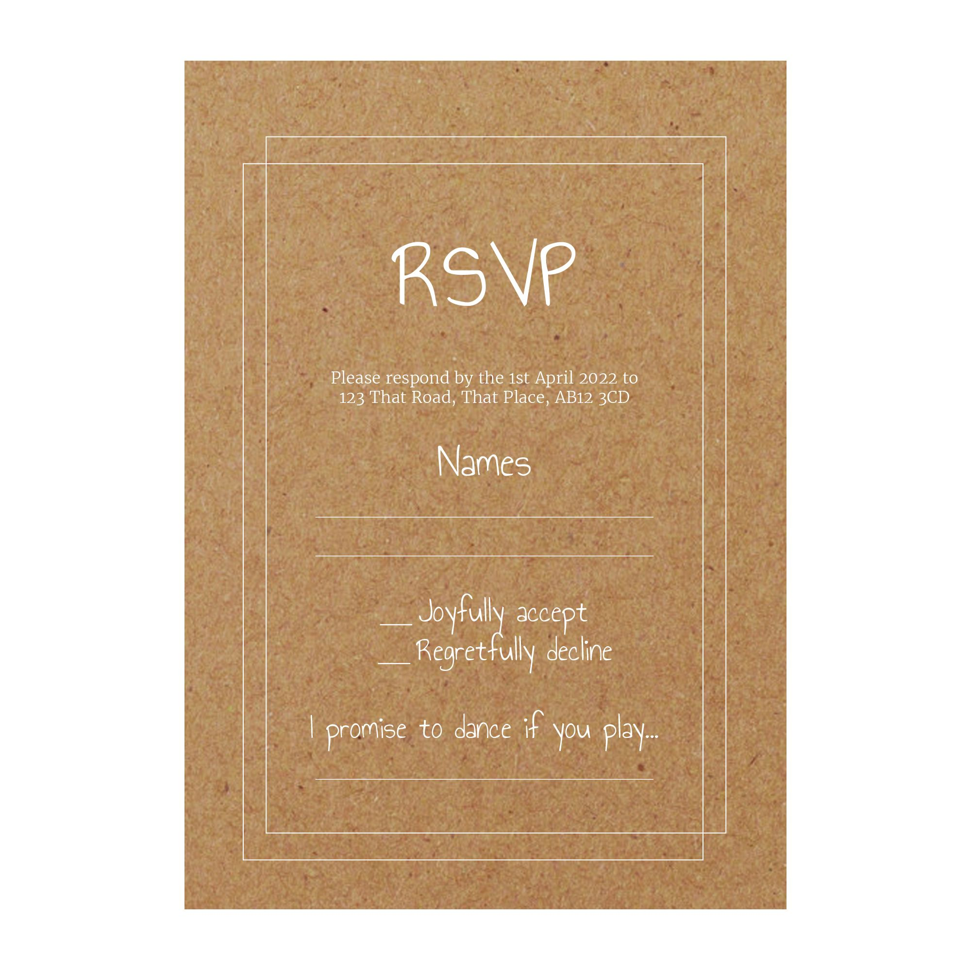 Recycled Brown Kraft with White Ink Classic Bordered RSVP Song Request Cards