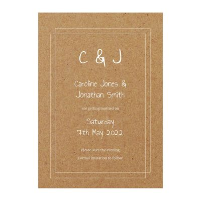 Recycled Brown Kraft with White Ink Classic Bordered Save the Evening Cards