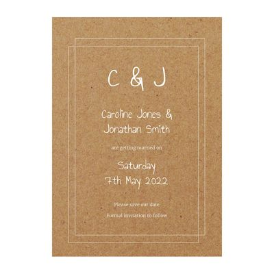 Recycled Brown Kraft with White Ink Classic Bordered Save the Date Cards