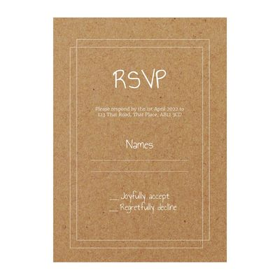 Recycled Brown Kraft with White Ink Classic Bordered RSVP Cards