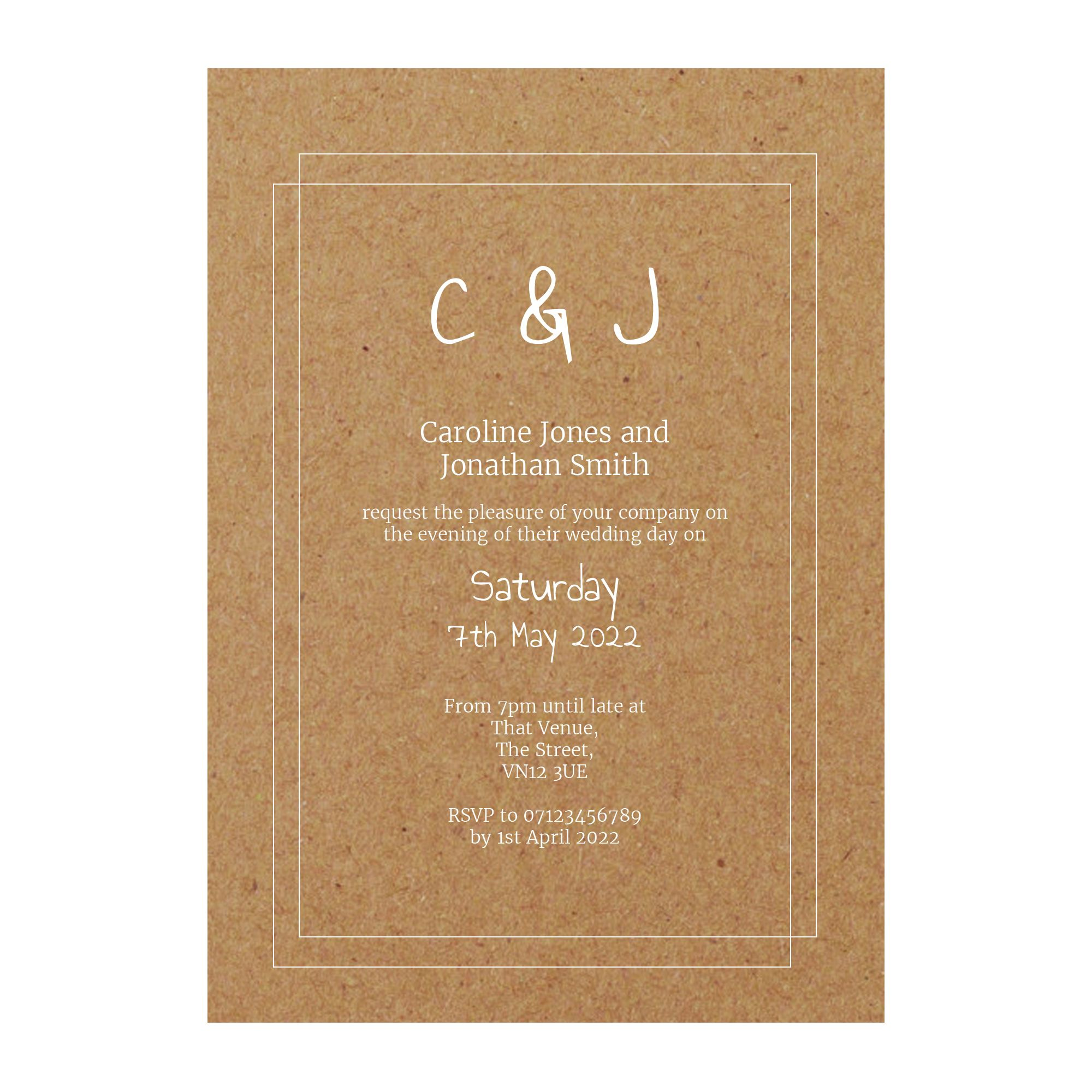 Recycled Brown Kraft with White Ink Classic Bordered Reception Invitations