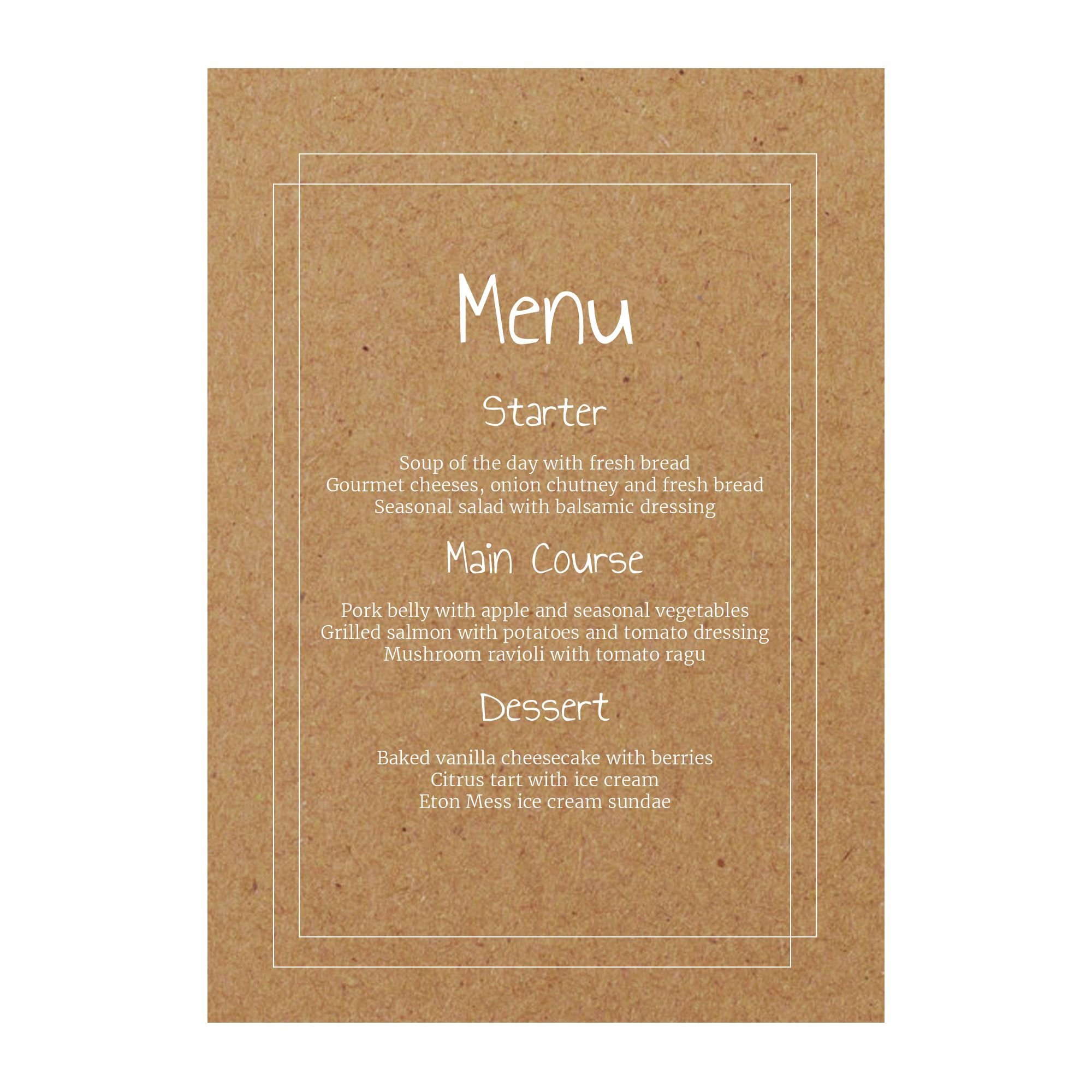Recycled Brown Kraft with White Ink Classic Bordered Menu Cards
