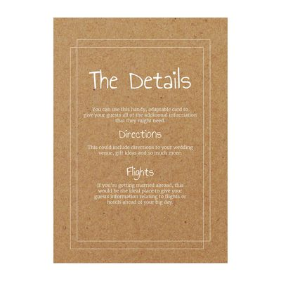 Recycled Brown Kraft with White Ink Classic Bordered Guest Information Cards