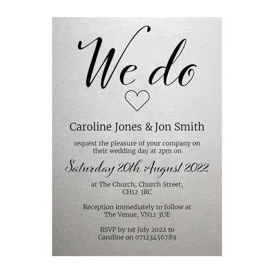 Shimmer Arctic White We Do Wedding Invitations