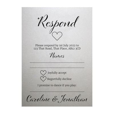 Shimmer Arctic White We Do RSVP Song Request Cards