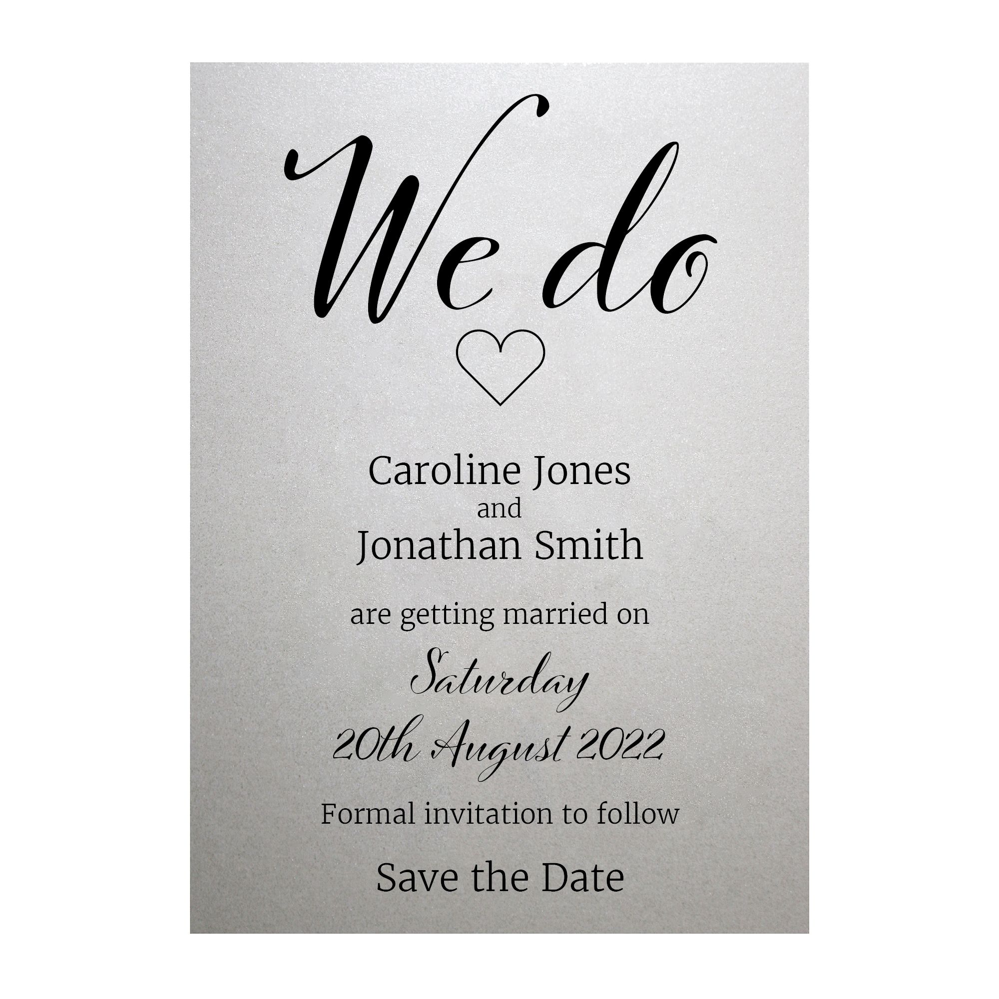 Shimmer Arctic White We Do Save the Date Cards
