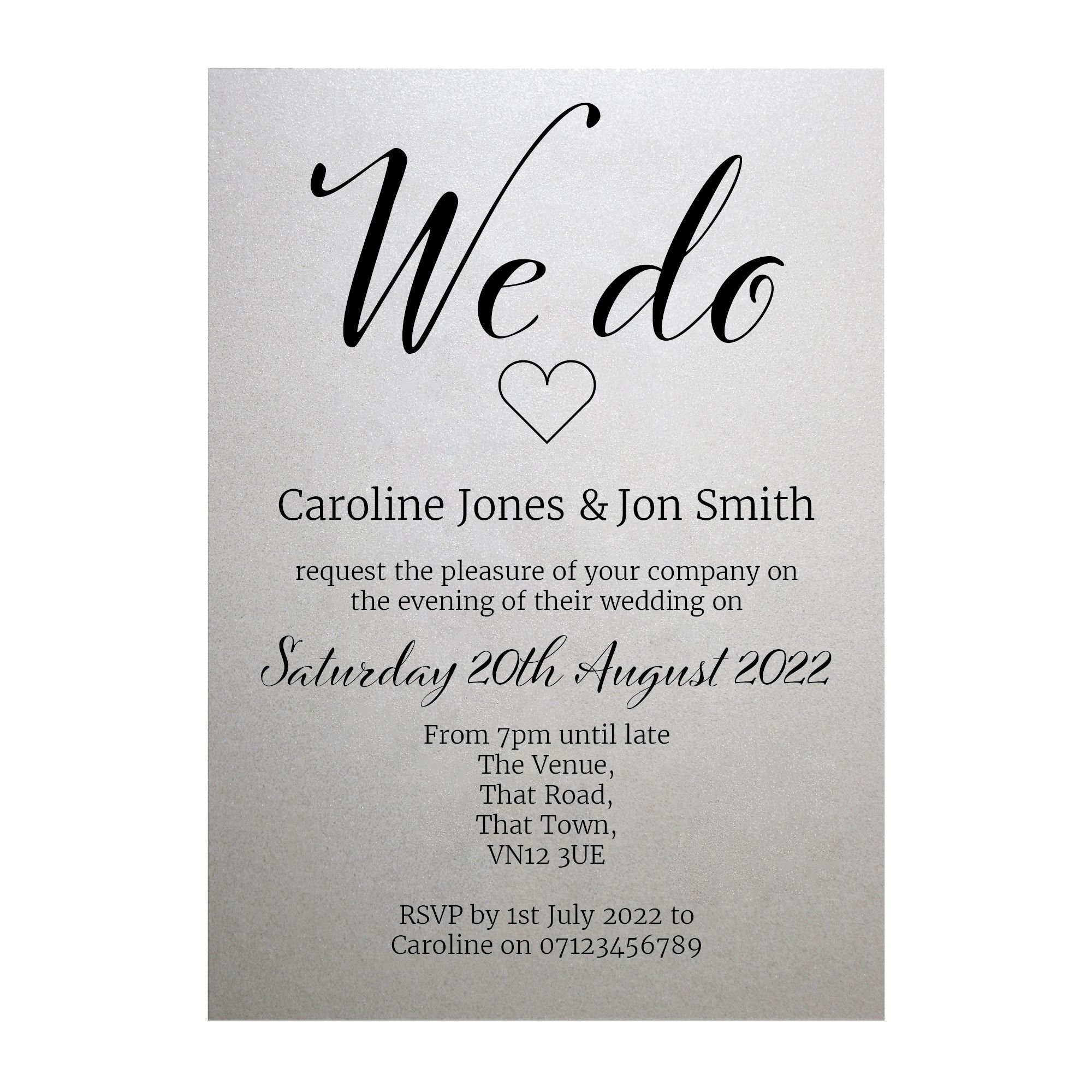 Shimmer Arctic White We Do Reception Invitations