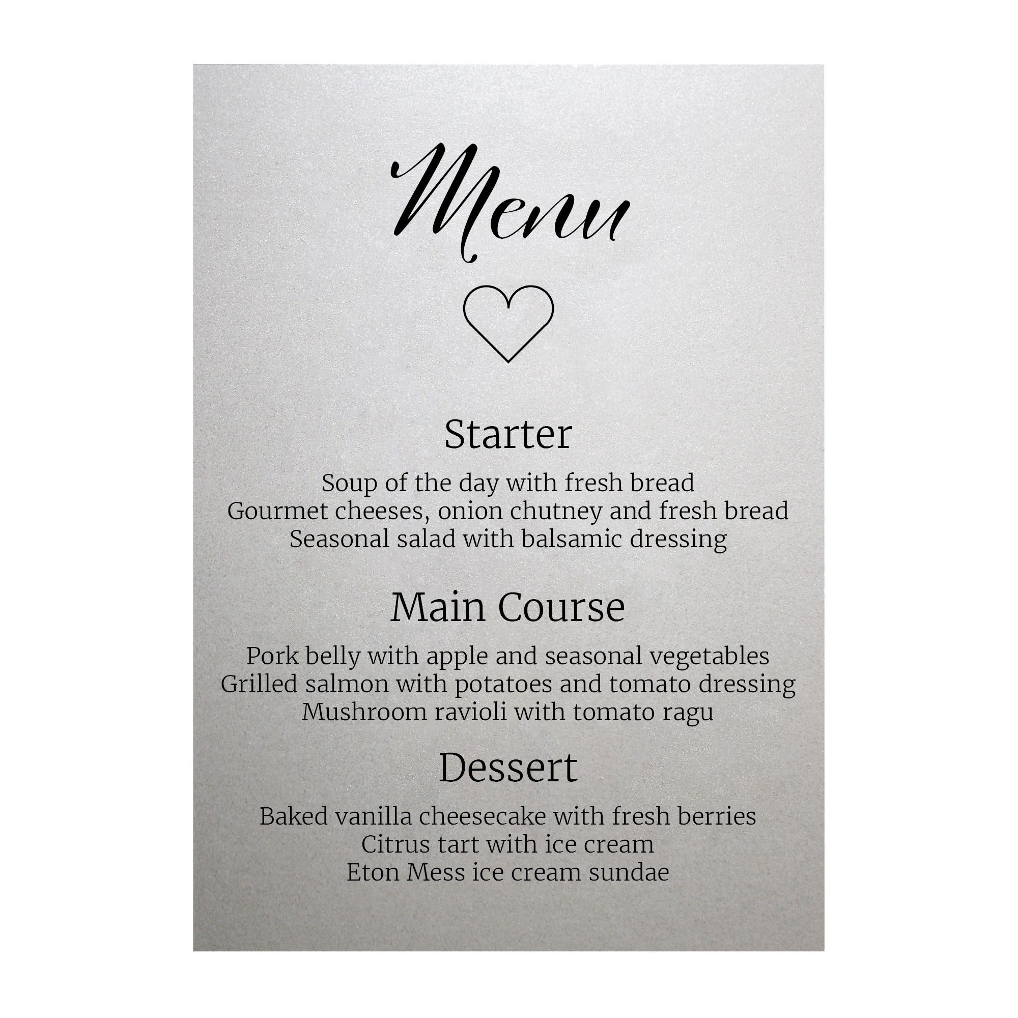 Shimmer Arctic White We Do Menu Cards