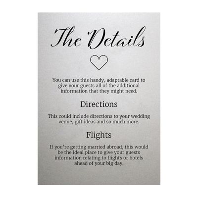 Shimmer Arctic White We Do Guest Information Cards