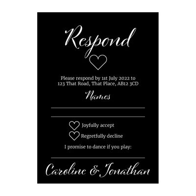 Black with White Ink We Do RSVP Song Request Cards